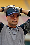 12 June 2006: Jamey Carroll, infielder for the Colorado Rockies, talks with former teammates prior to a game against the Washington Nationals at RFK Stadium, in Washington, DC. The Rockies defeated the Nationals 4-3 in the first game of the four game series...Mandatory Photo Credit: Ed Wolfstein Photo..