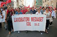 Roma 6 Settembre 2011.Manifestazione del sindacato CGIL contro la manovra del governo Berlusconi.I lavoratori Mediaset.