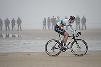 Wout van Aert (BEL/VerandasWillems-Crelan) leading the way along the belgian coast<br />