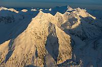 Mount Brooks (left) and Mount Silverthorne (center) Traleika glacier, Alaska range, Denali National Park, interior, Alaska.