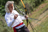 Robin Descamp of France practices during the European Open Championship of Horseback Archery in Veroce, about 60 km (37 miles) north of the capital Budapest, Hungary on August 31, 2012. ATTILA VOLGYI