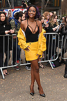 Justine Skye arrives for the Topshop Unique AW17 show as part of London Fashion Week AW17 at Tate Modern, London, UK. <br /> 19 February  2017<br /> Picture: Steve Vas/Featureflash/SilverHub 0208 004 5359 sales@silverhubmedia.com