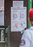 15 June 2016: The Washington Nationals Lineup Card is posted in the dugout during a game against the Chicago Cubs at Nationals Park in Washington, DC. The Nationals defeated the Cubs 5-4 in 12 innings to take the rubber match of their 3-game series. Mandatory Credit: Ed Wolfstein Photo *** RAW (NEF) Image File Available ***