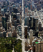 aerial photograph Central Park West, Columbus Circle, 8th Avenue, Manhattan, New York City