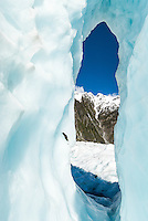 "Beautiful icy arch aptly called by glacier guides ""iris"", Franz Josef Glacier, Westland National Park, West Coast, World Heritage Area, New Zealand"