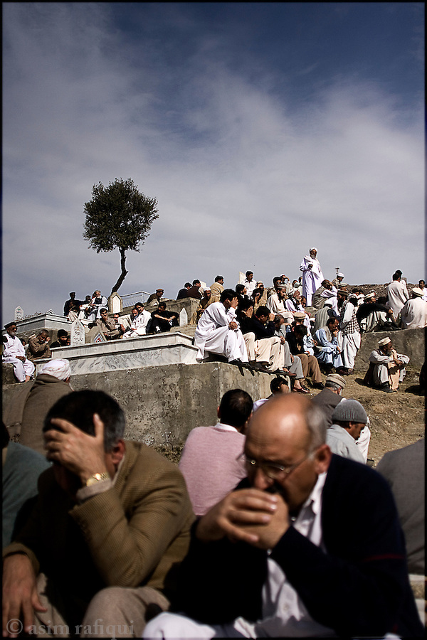 At a funeral for victims of the March 1st suicide bombing attack against the Pakistani Police - militants have maintained their campaign of suicide bombing attacks against military, police and civilian targets in the region of Swat, a campaign that has destroyed the economy and social cohesion of this once peaceful and idylic holiday region