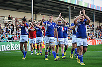 The Namibia team acknowledge the supporters after the match. Rugby World Cup Pool C match between Tonga and Namibia on September 29, 2015 at Sandy Park in Exeter, England. Photo by: Patrick Khachfe / Onside Images