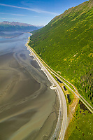Aerial of the New Seward Highway, along the Turnagain Arm, Alaska