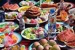 Tables Full of Fruit  for the Monkey Festival