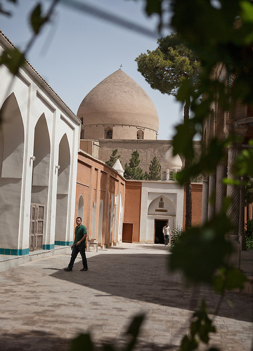 A man walks around the Church of St Mary of Isfahan. Most of the Christian community in Isfahan are centered in Jolfa area, the Armenian quarter of the city.