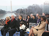 """Washington, DC - January 18, 2009 -- United States President-elect Barack Obama and his wife Michelle at the """"We Are One""""  The Obama Inaugural Celebration at the Lincoln Memorial on Sunday, January 18, 2009.  From left to right in the front row: Jill Biden, Vice President-elect Joseph Biden, President-elect Obama, Sasha Obama, Michelle Obama, Malia Obama..Credit: Dennis Brack - Pool via CNP"""
