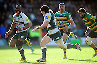 Harry Thacker of Leicester Tigers runs in a try of the first half. Aviva Premiership match, between Northampton Saints and Leicester Tigers on April 16, 2016 at Franklin's Gardens in Northampton, England. Photo by: Patrick Khachfe / JMP