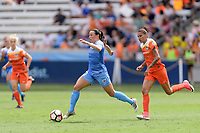 Houston, TX - Saturday April 15, 2017: Vanessa DiBernardo brings the ball up the field during a regular season National Women's Soccer League (NWSL) match won by the Houston Dash 2-0 over the Chicago Red Stars at BBVA Compass Stadium.