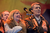 Kiev, Ukraine, 28/12/2004..The third and final round of Ukraine's disputed Presidential election. Viktor Yushchenko addresses supporters at ongoing demonstrations in the city centre.