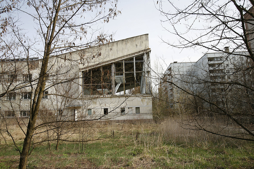 Chernobyl, Exclusion Zone, Ukraine. Swimming pool and sportscentre. Pripyat Town built 15 years before the Chernobyl reactor fire. The whole town was evacuated shortly after. The  Chernobyl Reactor, towns, plant and environs just before the 20th anniversary of the nuclear disaster.