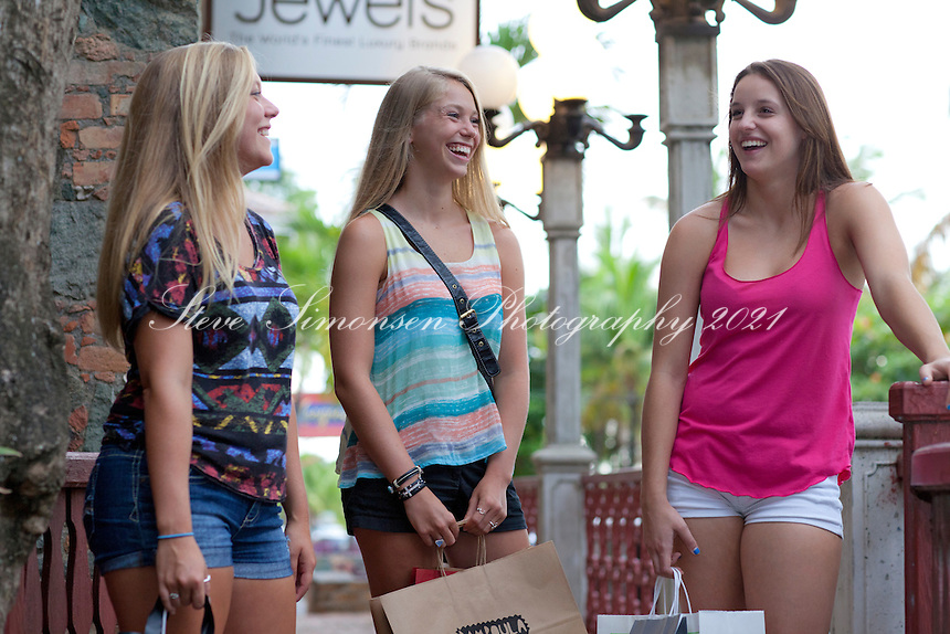 Teenage girls shopping<br /> Mongoose Junction<br /> Cruz Bay, St. John<br /> U.S. Virgin Islands