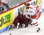 Jimmy Hayes (BC - 10), Max Nicastro (BU - 7) - The visiting Boston College Eagles defeated the Boston University Terriers 3-2 to sweep their Hockey East series on Friday, January 21, 2011, at Agganis Arena in Boston, Massachusetts.