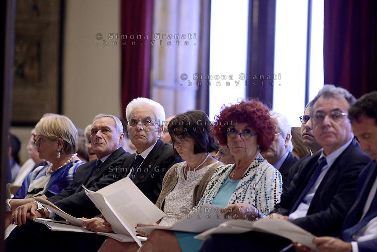 Roma, 8 Luglio 2015.<br /> Pietro Grasso, Sergio Mattarella.<br /> Camera dei Deputati. <br /> Relazione annuale INPS.