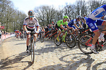 The peloton including Juraj Sagan (SVK) Bora-Hansgrohe tackle the famous cobbled climb of Kemmelberg during Gent-Wevelgem in Flanders Fields 2017 running 249km from Denieze to Wevelgem, Flanders, Belgium. 26th March 2017.<br /> Picture: Eoin Clarke | Cyclefile<br /> <br /> <br /> All photos usage must carry mandatory copyright credit (&copy; Cyclefile | Eoin Clarke)