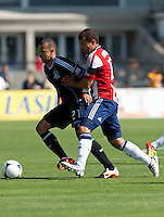 Santa Clara, California - Sunday May 13th, 2012: Alejandro Moreno of Chivas USA defending Jason Hernandez of San Jose Earthquakes during a Major League Soccer match at Buck Shaw Stadium