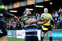 Leroy Houston of Bath Rugby celebrates his bonus-point try. Aviva Premiership match, between Bath Rugby and London Irish on March 5, 2016 at the Recreation Ground in Bath, England. Photo by: Patrick Khachfe / Onside Images