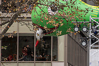NEW YORK, NY - NOVEMBER 24:  Happy Dragon balloon floats at the 90th annual Macy's Thanksgiving Day Parade near to Bryant Park ice rink on November 24, 2016 in New York City.  Photo by VIEWpress/Maite H. Mateo.