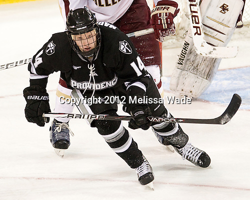 Ross Mauermann (PC - 14) - The Boston College Eagles defeated the Providence College Friars 7-0 on Saturday, February 25, 2012, at Kelley Rink at Conte Forum in Chestnut Hill, Massachusetts.