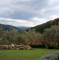 A view of the Tuscan hills from the garden of a villa near the village of Montalcino