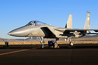 An Oregon Air National Guard F-15 Eagle  of the 173rd Fighter Wing sits on the ramp during 2006 Reno National Championship Air Races. The 173rd Fighter Wing is based at Kingsley Field in Klamath Falls, Oregon. The 173rd Fighter Wing was activated on June 27, 1996. Photographed 09/06
