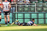 Jeff Williams of Bath Rugby scores a try on his home debut. West Country Challenge Cup match, between Bath Rugby and Gloucester Rugby on September 26, 2015 at the Recreation Ground in Bath, England. Photo by: Patrick Khachfe / Onside Images