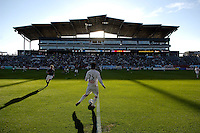 The sun sets behind Dick's Sporting Goods Park as the first half of the match gets underway. The Chicago Fire tied the Colorado Rapids 1-1 in the second game ever played at Dick's Sporting Goods Park in Commerce City, Colo. on April 15, 2007.