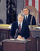 United States President Jimmy Carter delivers his State of the Union Address to a joint session of the US Congress in the US House Chamber in the US Capitol on January 20, 1978.  Seated behind the President is US Vice President Walter Mondale.<br /> Credit: Arnie Sachs / CNP