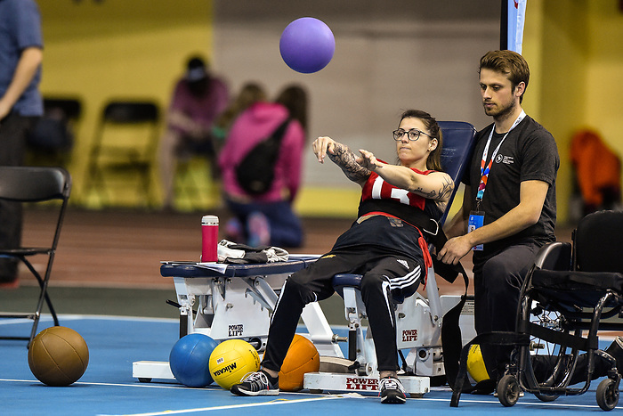 MONTREAL, QC - APRIL 29:  A participant throws a ball during the 2017 Montreal Paralympian Search at Complexe sportif Claude-Robillard. Photo: Minas Panagiotakis/Canadian Paralympic Committee