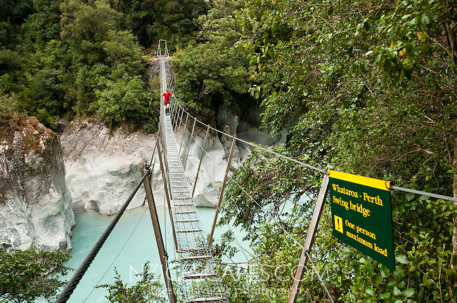 A female tramper crossing a swingbridge over Whataroa River Gorge - South Westland, West Coast, New Zealand