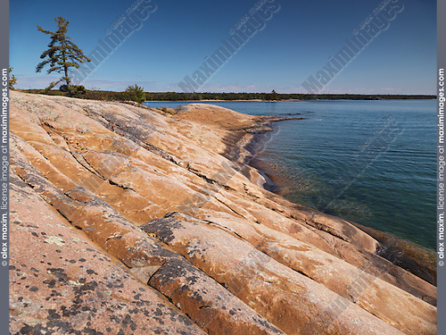 Rocky shore of Georgian Bay at Killbear Provincial Park, Ontario, Canada.
