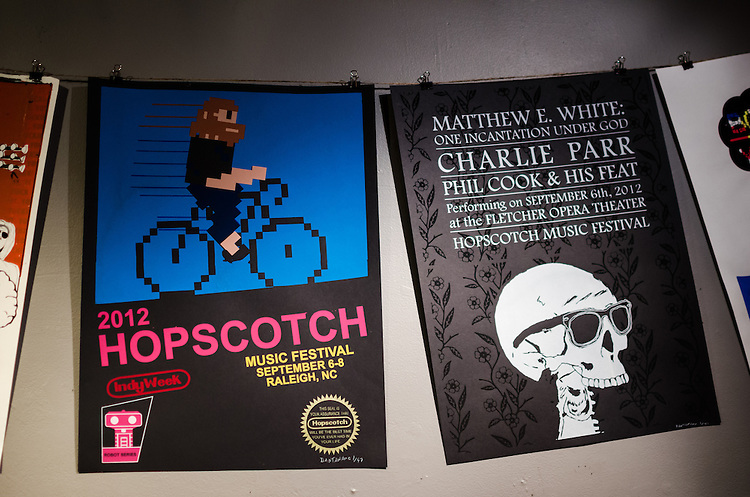 Posterscotch featured music posters by local Raleigh artists. This was the first event of Hopscotch Music Festival, September 5, 2012.