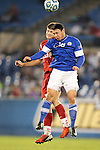 07 December 2012: Creighton's Timo Pitter (GER) (18) and Indiana's Dylan Lax (behind). The Creighton University Bluejays played the Indiana University Hoosiers at Regions Park Stadium in Hoover, Alabama in a 2012 NCAA Division I Men's Soccer College Cup semifinal game.