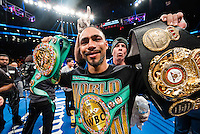 "NEW YORK, NY - MARCH 04: Undefeated WBA and WBC Welterweight Champion Keith ""One Time"" Thurman displaying both belts after the split decision win over Danny ""Swift"" Garcia at Barclays Center on  March 4, 2017 in the borough of Brooklyn, New York City.. (Photo by Douglas DeFelice/Eclipse Sportswire/Getty Images)"