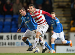St Johnstone v Hamilton Accies...04.01.15   SPFL<br /> Tony Andreu fens off Chris Millar<br /> Picture by Graeme Hart.<br /> Copyright Perthshire Picture Agency<br /> Tel: 01738 623350  Mobile: 07990 594431