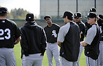 GLENDALE, AZ - FEBRUARY 24:  Juan PIerre #1 and other members of the Chicago White Sox listen to manager Ozzie Guillen #13 prior to a workout on February 24, 2010 at the White Sox training facility at Camelback Ranch in Glendale, Arizona. (Photo by Ron Vesely)