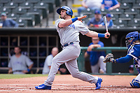 Mark Zagunis (6) of the Iowa Cubs batting during a game against the Oklahoma City Dodgers at Chickasaw Bricktown Ballpark on April 9, 2016 in Oklahoma City, Oklahoma.  Oklahoma City defeated Iowa 12-1 (William Purnell/Four Seam Images)