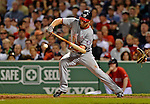 8 June 2012: Washington Nationals outfielder Bryce Harper attempts a bunt in the 6th inning against the Boston Red Sox at Fenway Park in Boston, MA. The Nationals defeated the Red Sox 7-4 in the opening game of their 3-game series. Mandatory Credit: Ed Wolfstein Photo
