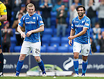 St Johnstone v Dundee United...26.09.15  SPFL   McDiarmid Park, Perth<br /> Simon Lappin and Brian Easton celebrate at full time<br /> Picture by Graeme Hart.<br /> Copyright Perthshire Picture Agency<br /> Tel: 01738 623350  Mobile: 07990 594431