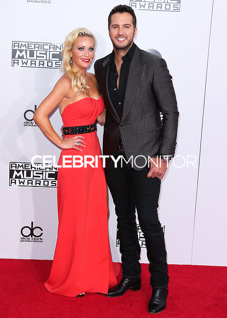LOS ANGELES, CA, USA - NOVEMBER 23: Caroline Boyer, Luke Bryan arrive at the 2014 American Music Awards held at Nokia Theatre L.A. Live on November 23, 2014 in Los Angeles, California, United States. (Photo by Xavier Collin/Celebrity Monitor)