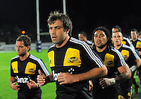 Hurricanes centre Conrad Smith runs in ahead of Aaron Cruden (left) and Ma'a Nonu. Super 15 rugby union match - Hurricanes v Force at FMG Stadium, Palmerston North, New Zealand on Friday, 27 May 2011. Photo: Dave Lintott / lintottphoto.co.nz