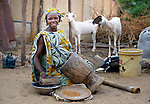 A woman prepares food in Timbuktu, a city in northern Mali which was seized by Islamist fighters in 2012 and then liberated by French and Malian soldiers in early 2013. This woman belongs to the Bella ethnic group, which has traditionally been exploited by the region's lighter-skinned groups.