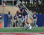 Ole Miss quarterback Randall Mackey (1) looks to pass at Vaught-Hemingway Stadium in Oxford, Miss. on Saturday, September 24, 2011. Georgia won 27-13.