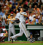 21 August 2009: Milwaukee Brewers' infielder Craig Counsell watches one fly during a game against the Washington Nationals, at Nationals Park in Washington, DC. The Brewers defeated the Nationals 7-3 in the first game of their four-game series. Mandatory Credit: Ed Wolfstein Photo