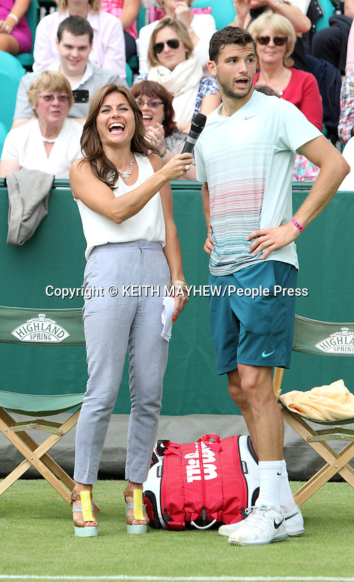 Grigor Dmitrov (Bulgaria)) is interviewed by Zoe Hardman at The Boodles Tennis Challenge held at Stoke Park, Buckinghamshire, UK - June 21st 2013<br /> <br /> Photo by Keith Mayhew