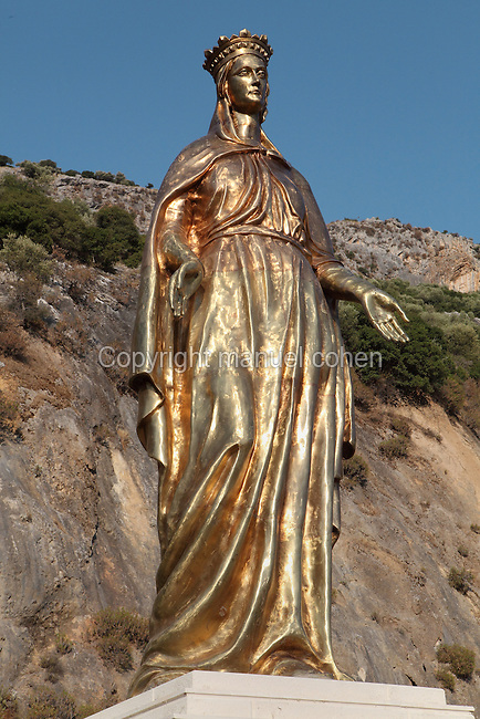 Statue of the Virgin Mary erected by the American Society of Ephesus (George B. Quatman Foundation), on the road to the House of the Virgin Mary outside Ephesus, Izmir, Turkey. This statue was erected on October 13th 1996 to celebrate the life of the Virgin, who may have spent her last years here. Ephesus was an ancient Greek city founded in the 10th century BC, and later a major Roman city, on the Ionian coast near present day Selcuk. Picture by Manuel Cohen